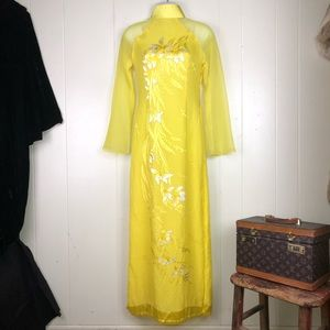 Sexy yellow hand painted oriental down extra small